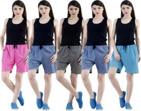 Dee Mannequin Self Design Women's Dark Blue, Dark Blue, Grey, Pink, Blue Sports Shorts