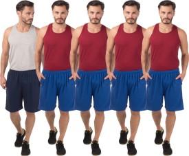 Meebaw Self Design Men's Dark Blue, Blue, Blue, Blue, Blue Sports Shorts