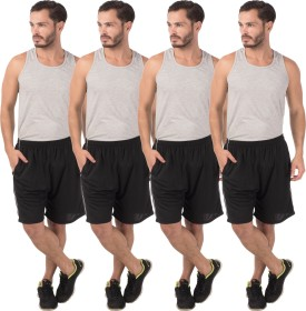 Meebaw Self Design Men's Black, Black, Black, Black Sports Shorts