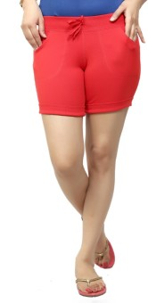 By The Way Solid Women's, Girl's Red Basic Shorts, Beach Shorts, Cycling Shorts, Night Shorts