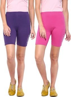 ESPRESSO Solid Women's Pink, Purple Basic Shorts