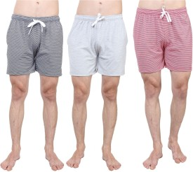 SayItLoud Striped Men's White, Grey, White, Black, White, Red Basic Shorts