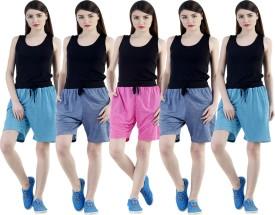 Dee Mannequin Self Design Women's Dark Blue, Dark Blue, Pink, Blue, Blue Sports Shorts
