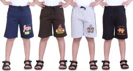 Dongli Printed Boy's Dark Blue, Brown, Grey, Black Sports Shorts