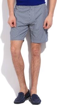 Nautica Checkered Men's White, Blue Basic Shorts
