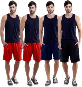 Dee Mannequin Self Design Men's Red, Red, Dark Blue, Black Sports Shorts