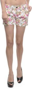 Sobre Estilo White Floral Print Women's Hotpants