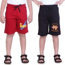 Dongli Printed Boy's Red, Black Sports Shorts