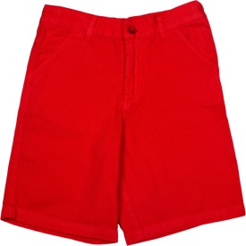 Apricot Kids Printed Boy's Red Basic Shorts