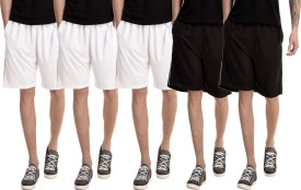 Dee Mannequin Solid Men's White, White, White, Black, Black Basic Shorts