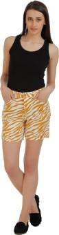 Holidae Printed Women's Yellow, White Basic Shorts