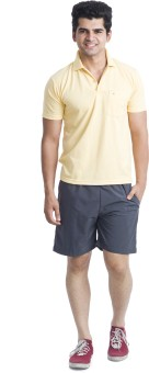 Nu9 Solid Men's Grey Basic Shorts