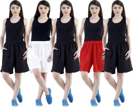 Dee Mannequin Self Design Women's White, Red, Black, Black, Black Sports Shorts