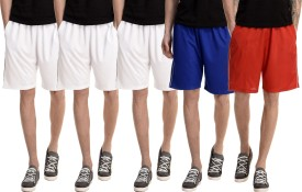 Dee Mannequin Solid Men's White, White, White, Red, Blue Basic Shorts