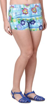 Mind The Gap Printed Women's Light Blue Boxer Shorts