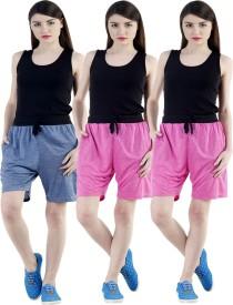 Dee Mannequin Self Design Women's Dark Blue, Pink, Pink Sports Shorts