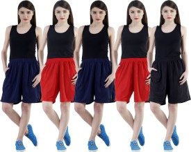 Dee Mannequin Self Design Women's Red, Red, Dark Blue, Dark Blue, Black Sports Shorts