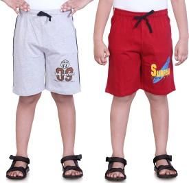 Dongli Printed Boy's Grey, Red Sports Shorts