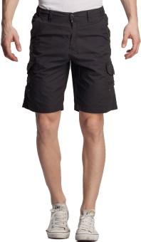 Beevee Solid Men's Grey Cargo Shorts