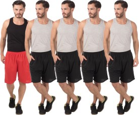 Meebaw Self Design Men's Red, Black, Black, Black, Black Sports Shorts