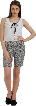 Holidae Floral Print Women's Black, White Basic Shorts