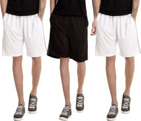Dee Mannequin Solid Men's White, White, Black Basic Shorts
