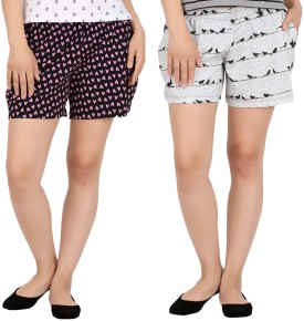HALF INCH Printed Women's Black, Grey Night Shorts