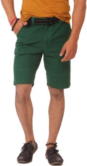 Etc Casuals Green Solid Men's Basic Shorts