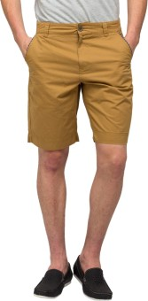 T-Base Beige Solid Men's Basic Shorts