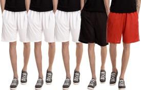 Dee Mannequin Solid Men's White, White, White, Red, Black Basic Shorts