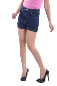 TrendBAE Dark Blue Solid Women's Denim Denim Shorts