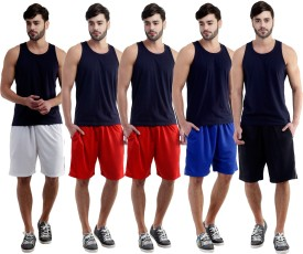 Dee Mannequin Self Design Men's White, Red, Red, Blue, Black Sports Shorts