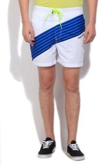 Nautica Self Design Men's White, Blue Basic Shorts