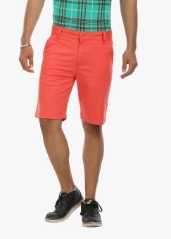 Wear Your Mind Solid Men's Orange Basic Shorts