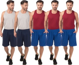 Meebaw Self Design Men's Dark Blue, Dark Blue, Blue, Blue, Blue Sports Shorts