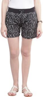 Sakhi Sang Black Leaf Printed Women's Basic Shorts