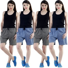 Dee Mannequin Self Design Women's Dark Blue, Dark Blue, Grey, Grey Sports Shorts