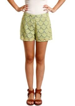Nun Green Lace Self Design Women's Basic Shorts