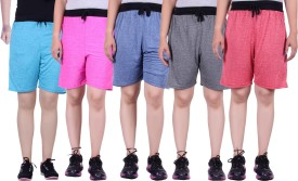 Gag Wear Solid Women's Red, Dark Blue, Grey, Pink, Light Blue Baggy Shorts