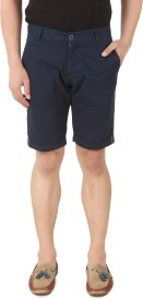 Spunk Solid Men's Blue Chino Shorts