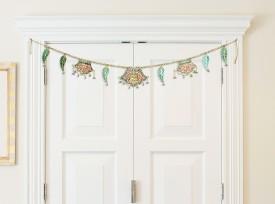 Home Sparkle Leaf Laxmi Toran For Wall Showpiece  -  10.16 cm