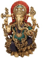 StatueStudio Ganesh On Lotus Flower Base Stone