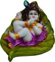 ECraftIndia Synthetic Laddu Gopal On Green Leaf Showpiece  -  7.62 Cm Polyresin, Multicolor
