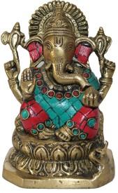 Nayahub Brass Stone Work Ganesha Showpiece  -  15 cm