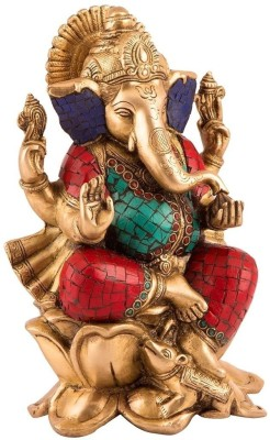 Collectible India Ganesh Statue, Sitting on Lotus Large Handmade Auth Ganesha Ganpati Vinayak Showpiece - 24 cm