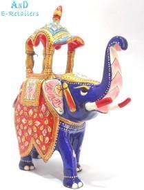 AnD Artvilla Beautiful Handmade Metal Meenakari Worked Ambabari Elephant 3 Inch Showpiece  -  7 cm