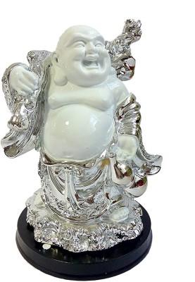 Aadi Shakti Silver Metal D?cor Standing Laughing Buddha Statue By Return Favors
