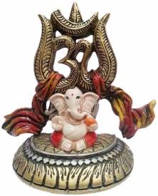 Earth Statue Ganesha Idiol with Om Showpiece  -  8.89 cm
