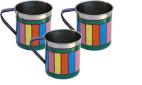 ECraftIndia Handpainted Decorative Stainless Steel Mug (180 Ml, Pack Of 3) - MUGEGB2HWU86H88U