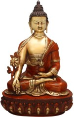 StatueStudio Buddha Sitting On The Base Golden Red